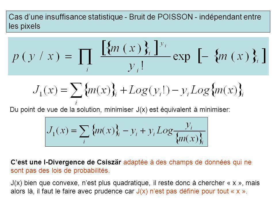 Cas dune insuffisance statistique - Bruit de POISSON - indépendant entre les pixels Du point de vue de la solution, minimiser J(x) est équivalent à mi