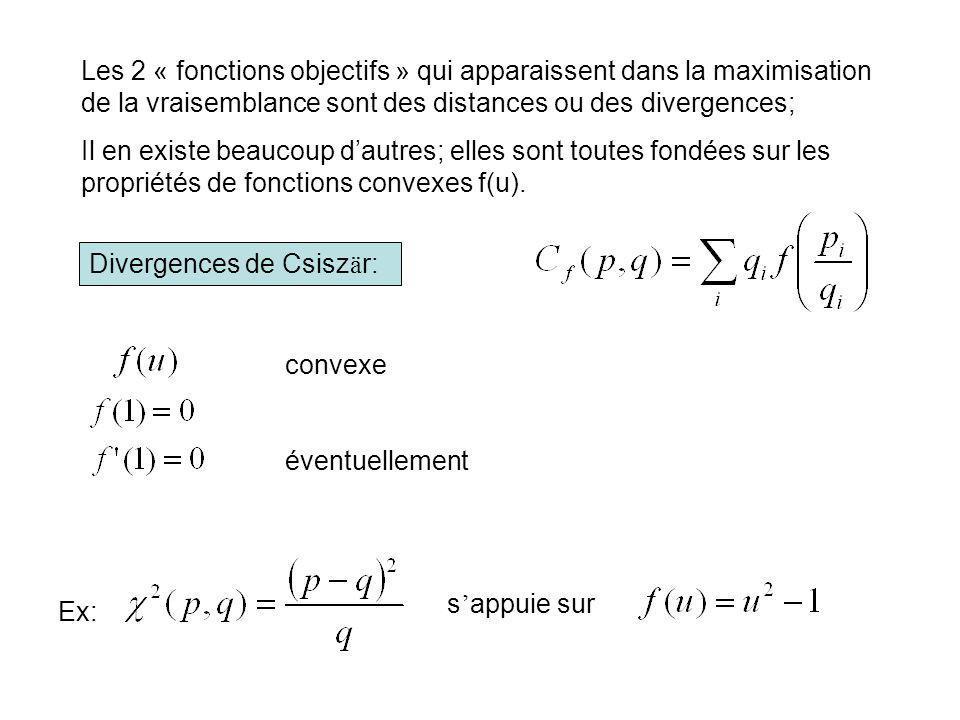 Les 2 « fonctions objectifs » qui apparaissent dans la maximisation de la vraisemblance sont des distances ou des divergences; Il en existe beaucoup d