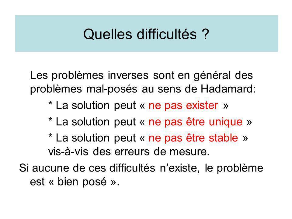 Quelles difficultés ? Les problèmes inverses sont en général des problèmes mal-posés au sens de Hadamard: * La solution peut « ne pas exister » * La s
