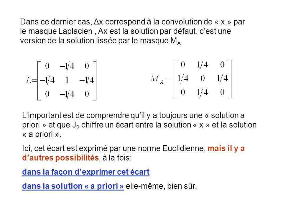 Dans ce dernier cas, Δx correspond à la convolution de « x » par le masque Laplacien, Ax est la solution par défaut, cest une version de la solution l