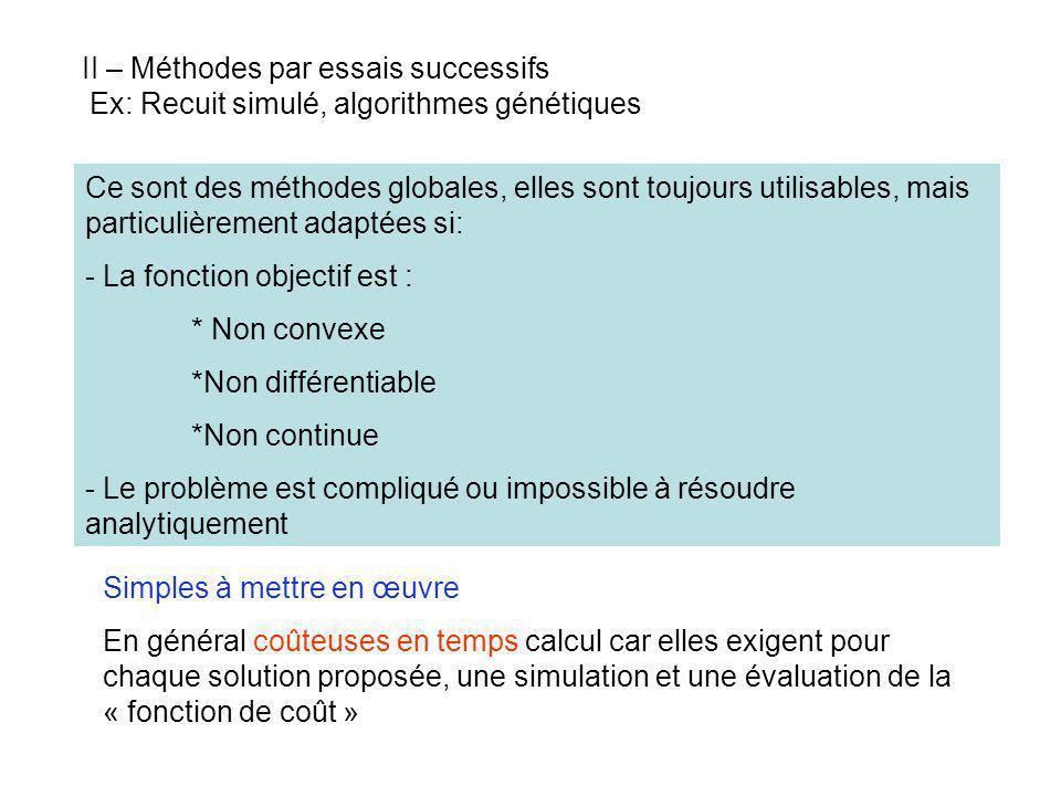 II – Méthodes par essais successifs Ex: Recuit simulé, algorithmes génétiques Ce sont des méthodes globales, elles sont toujours utilisables, mais par