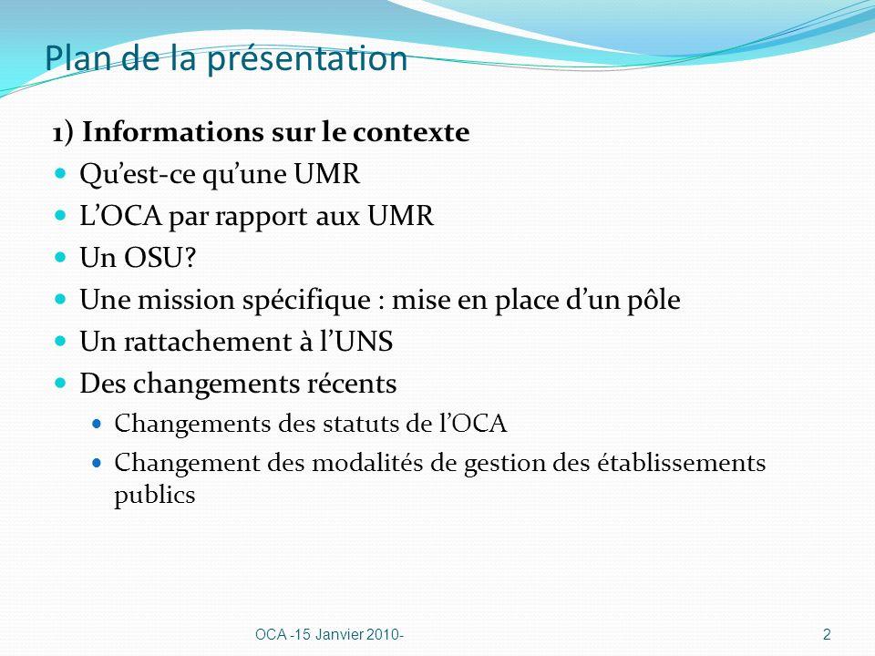 Plan de la présentation 1) Informations sur le contexte Quest-ce quune UMR LOCA par rapport aux UMR Un OSU? Une mission spécifique : mise en place dun