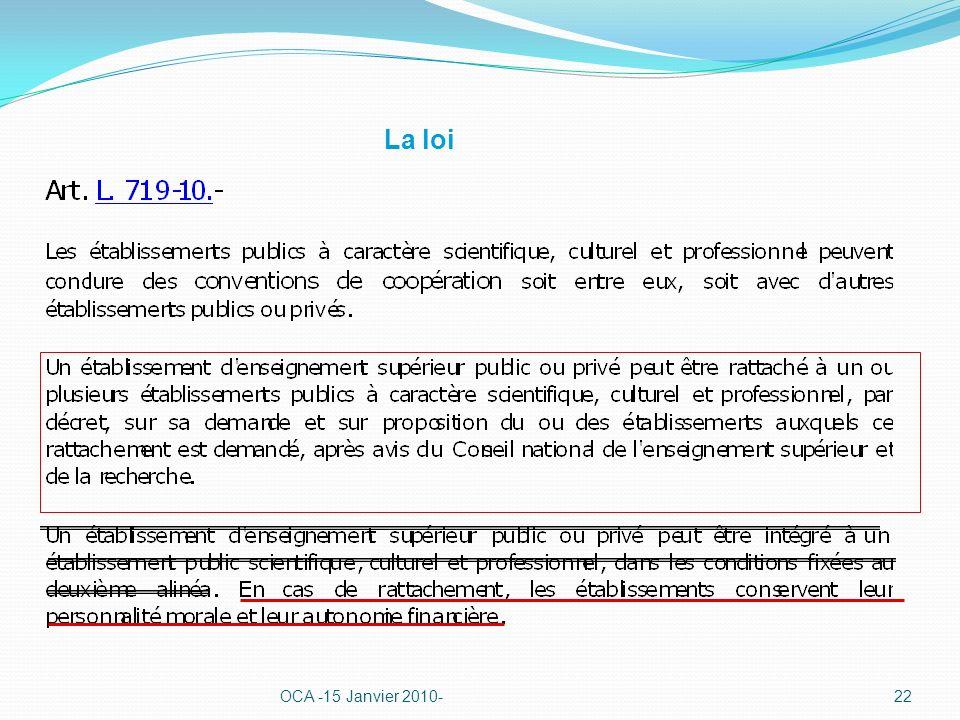 La loi OCA -15 Janvier 2010-22