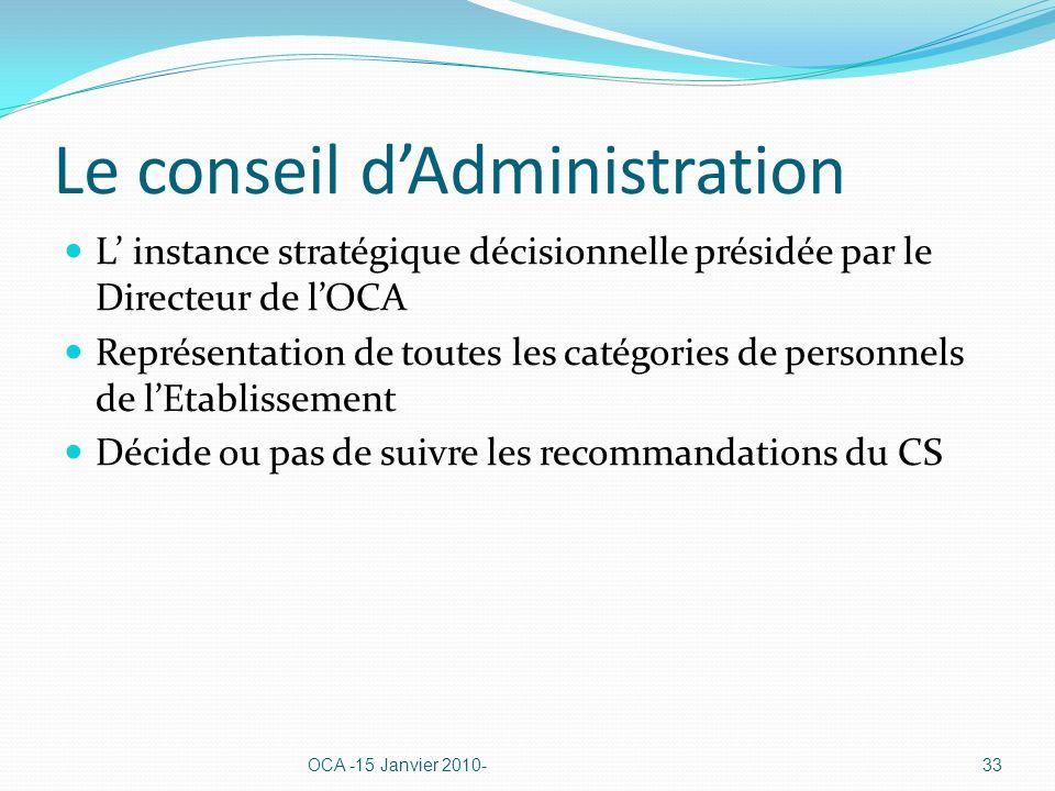 Le conseil dAdministration L instance stratégique décisionnelle présidée par le Directeur de lOCA Représentation de toutes les catégories de personnels de lEtablissement Décide ou pas de suivre les recommandations du CS OCA -15 Janvier 2010-33
