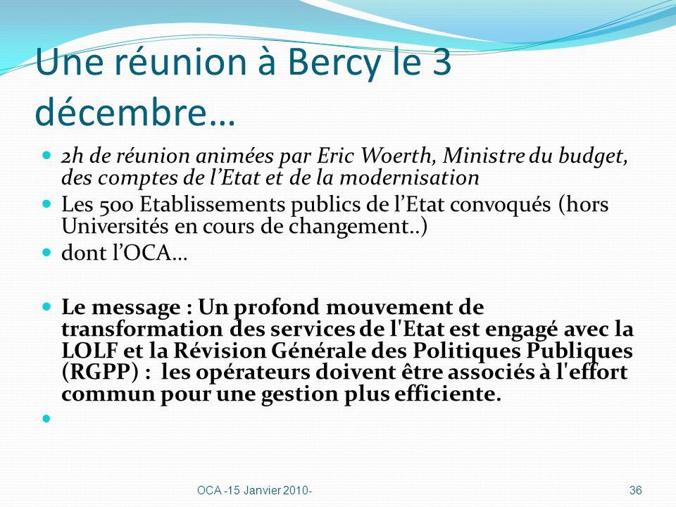 Une réunion à Bercy le 3 décembre… 2h de réunion animées par Eric Woerth, Ministre du budget, des comptes de lEtat et de la modernisation Les 500 Etablissements publics de lEtat convoqués (hors Universités en cours de changement..) dont lOCA… Le message : Un profond mouvement de transformation des services de l Etat est engagé avec la LOLF et la Révision Générale des Politiques Publiques (RGPP) : les opérateurs doivent être associés à l effort commun pour une gestion plus efficiente.