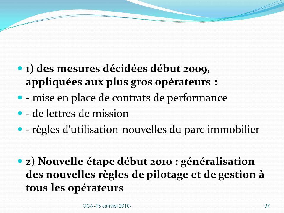 1) des mesures décidées début 2009, appliquées aux plus gros opérateurs : - mise en place de contrats de performance - de lettres de mission - règles