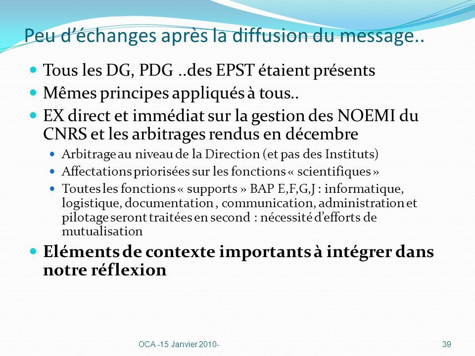 Peu déchanges après la diffusion du message.. Tous les DG, PDG..des EPST étaient présents Mêmes principes appliqués à tous.. EX direct et immédiat sur
