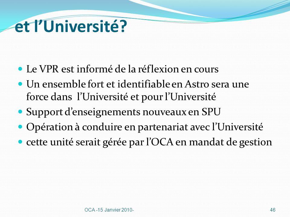 et lUniversité? Le VPR est informé de la réflexion en cours Un ensemble fort et identifiable en Astro sera une force dans lUniversité et pour lUnivers