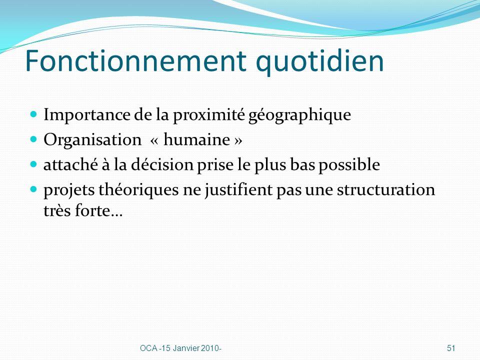 Fonctionnement quotidien Importance de la proximité géographique Organisation « humaine » attaché à la décision prise le plus bas possible projets théoriques ne justifient pas une structuration très forte… OCA -15 Janvier 2010-51