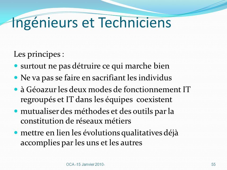 Ingénieurs et Techniciens Les principes : surtout ne pas détruire ce qui marche bien Ne va pas se faire en sacrifiant les individus à Géoazur les deux