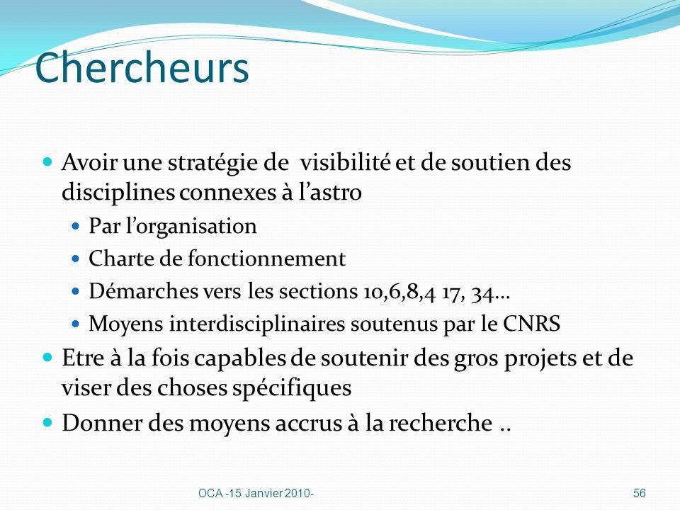 Chercheurs Avoir une stratégie de visibilité et de soutien des disciplines connexes à lastro Par lorganisation Charte de fonctionnement Démarches vers