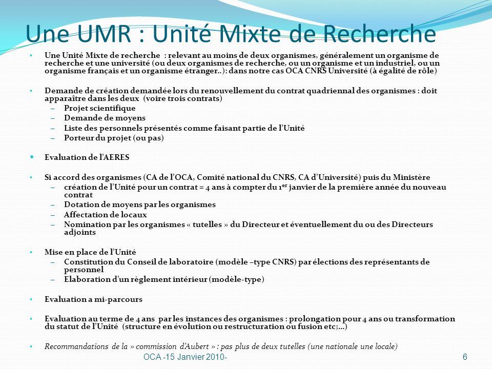 Une UMR : Unité Mixte de Recherche Une Unité Mixte de recherche : relevant au moins de deux organismes, généralement un organisme de recherche et une université (ou deux organismes de recherche, ou un organisme et un industriel, ou un organisme français et un organisme étranger..): dans notre cas OCA CNRS Université (à égalité de rôle) Demande de création demandée lors du renouvellement du contrat quadriennal des organismes : doit apparaître dans les deux (voire trois contrats) – Projet scientifique – Demande de moyens – Liste des personnels présentés comme faisant partie de lUnité – Porteur du projet (ou pas) Evaluation de lAERES Si accord des organismes (CA de lOCA, Comité national du CNRS, CA dUniversité) puis du Ministère – création de lUnité pour un contrat = 4 ans à compter du 1 er janvier de la première année du nouveau contrat – Dotation de moyens par les organismes – Affectation de locaux – Nomination par les organismes « tutelles » du Directeur et éventuellement du ou des Directeurs adjoints Mise en place de lUnité – Constitution du Conseil de laboratoire (modèle –type CNRS) par élections des représentants de personnel – Elaboration dun règlement intérieur (modèle-type) Evaluation a mi-parcours Evaluation au terme de 4 ans par les instances des organismes : prolongation pour 4 ans ou transformation du statut de lUnité (structure en évolution ou restructuration ou fusion etc;…) Recommandations de la » commission dAubert » : pas plus de deux tutelles (une nationale une locale) OCA -15 Janvier 2010-6