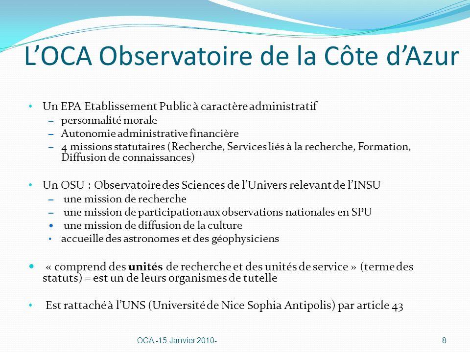 Un projet de pôle dexcellence en SPU, porté par lOCA émerge dans le cadre de lélaboration du contrat quadriennal 2008-2011 Le texte retenu en commun et envoyé par les organismes dans leur projet de contrat au Ministère de lEnseignement Supérieur et de la recherche (décembre 2006) : « Un changement de la nature du partenariat avec lOCA : Dans le cadre du contrat quadriennal 2008-2011, lUNSA, lOCA, le CNRS, lUPMC et lIRD ont décidé de regrouper leurs activités de recherche dans le secteur des Sciences de la Planète et de lUnivers - hors océanographie physique et biologique - au sein dun même observatoire.