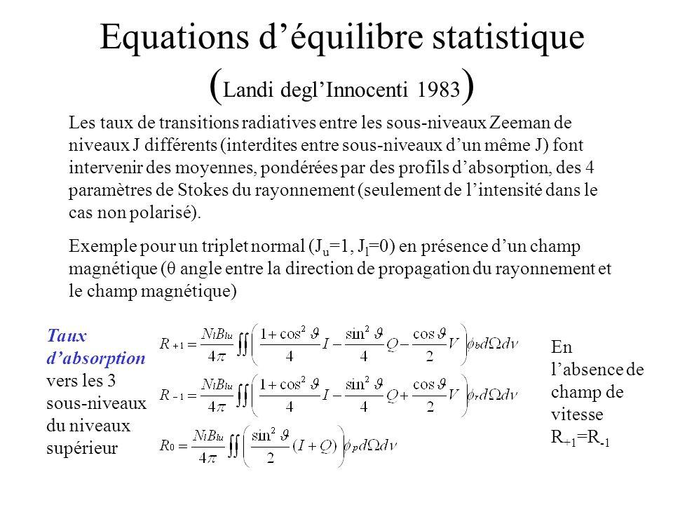 Equations déquilibre statistique ( Landi deglInnocenti 1983 ) Les taux de transitions radiatives entre les sous-niveaux Zeeman de niveaux J différents