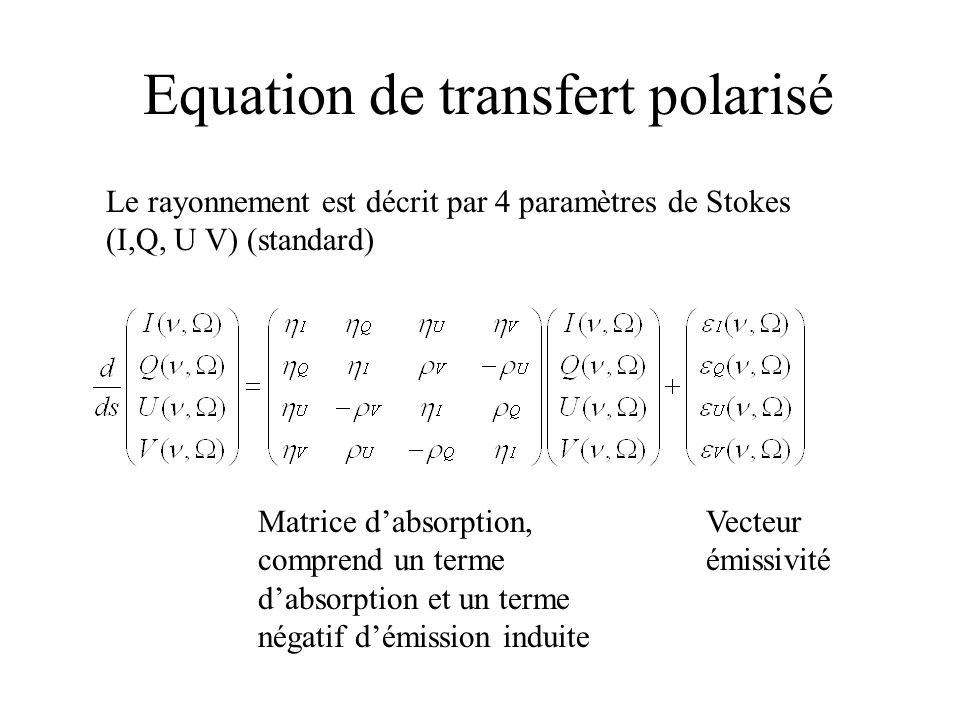 Equation de transfert polarisé Le rayonnement est décrit par 4 paramètres de Stokes (I,Q, U V) (standard) Matrice dabsorption, comprend un terme dabso