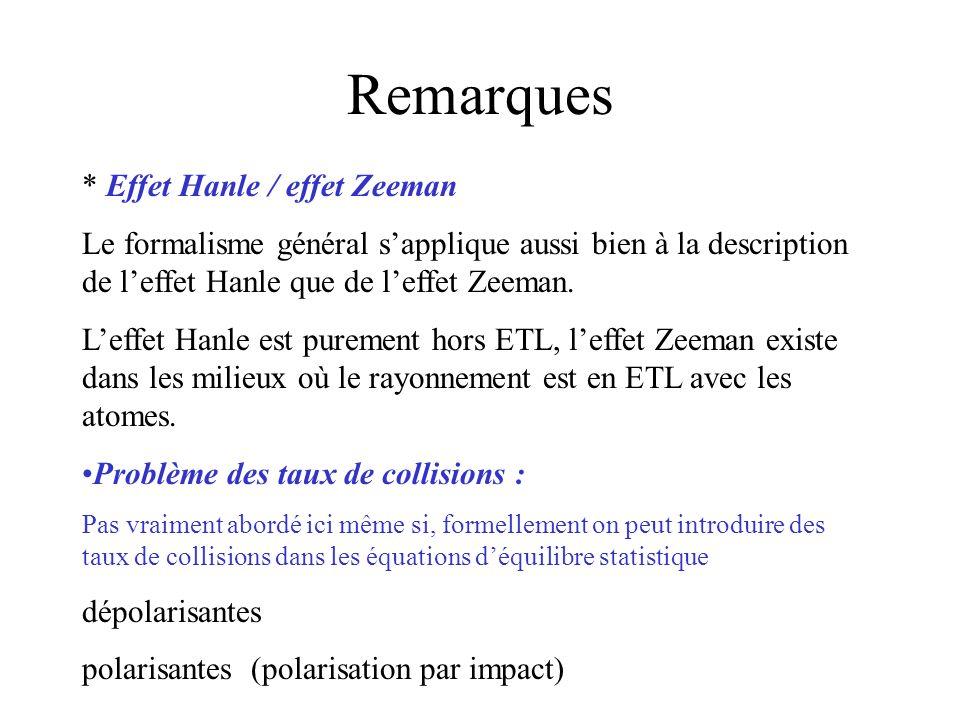 Remarques * Effet Hanle / effet Zeeman Le formalisme général sapplique aussi bien à la description de leffet Hanle que de leffet Zeeman. Leffet Hanle
