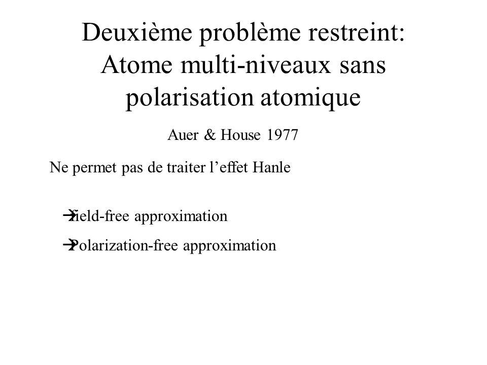 Deuxième problème restreint: Atome multi-niveaux sans polarisation atomique Auer & House 1977 field-free approximation Polarization-free approximation