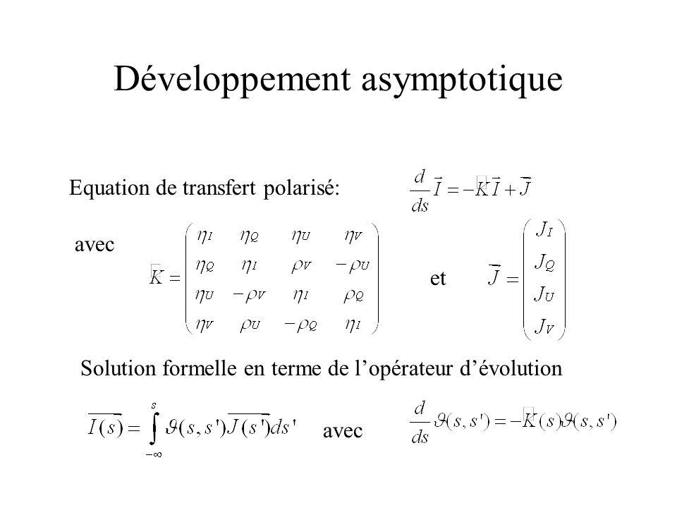 Développement asymptotique Equation de transfert polarisé: avec et Solution formelle en terme de lopérateur dévolution avec
