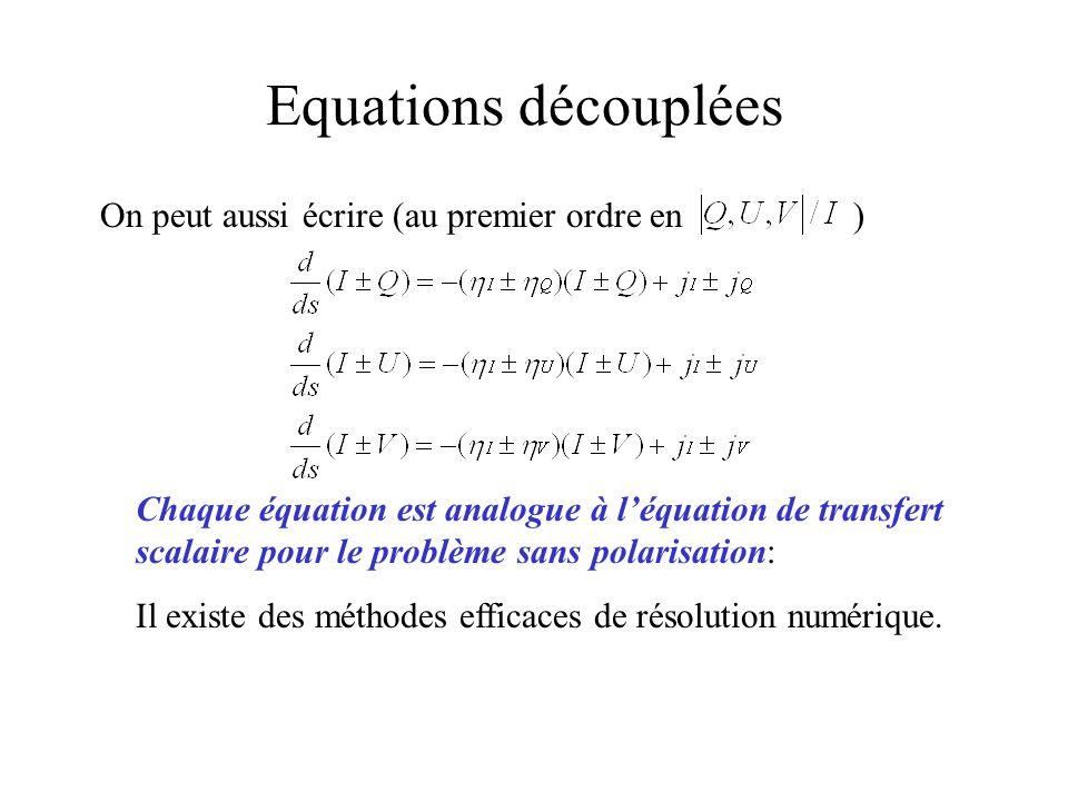 Equations découplées On peut aussi écrire (au premier ordre en ) Chaque équation est analogue à léquation de transfert scalaire pour le problème sans