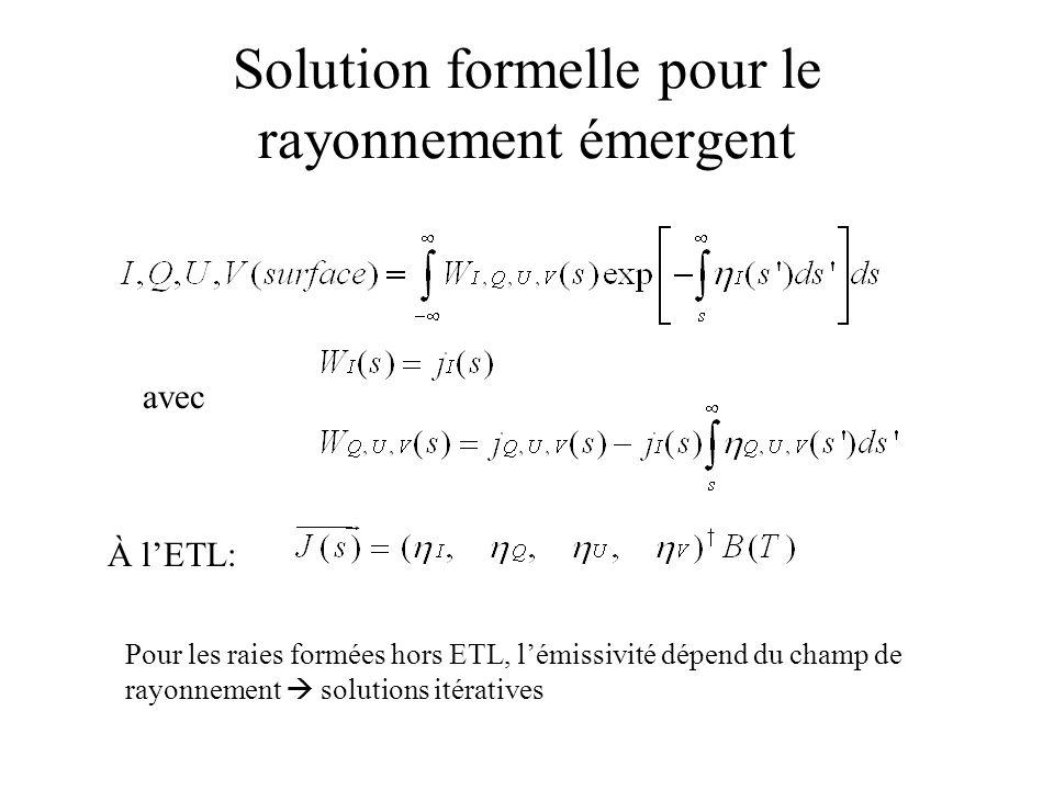 Solution formelle pour le rayonnement émergent avec Pour les raies formées hors ETL, lémissivité dépend du champ de rayonnement solutions itératives À