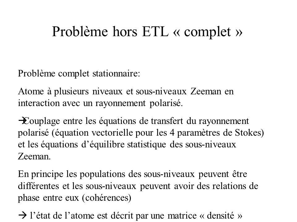 Problème hors ETL « complet » Problème complet stationnaire: Atome à plusieurs niveaux et sous-niveaux Zeeman en interaction avec un rayonnement polar