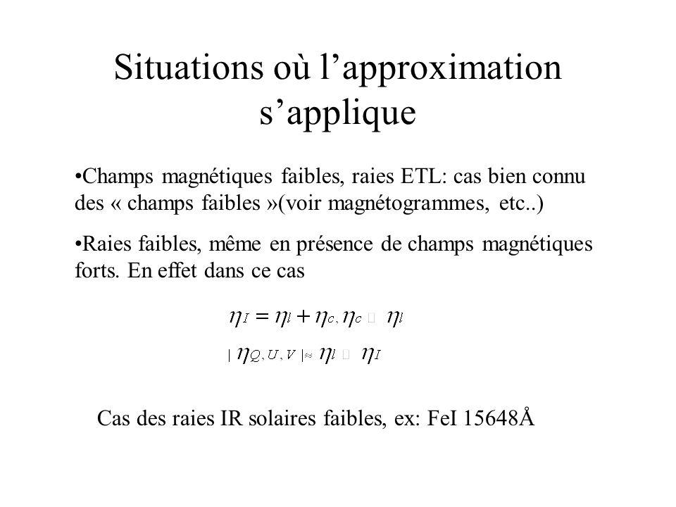 Situations où lapproximation sapplique Champs magnétiques faibles, raies ETL: cas bien connu des « champs faibles »(voir magnétogrammes, etc..) Raies