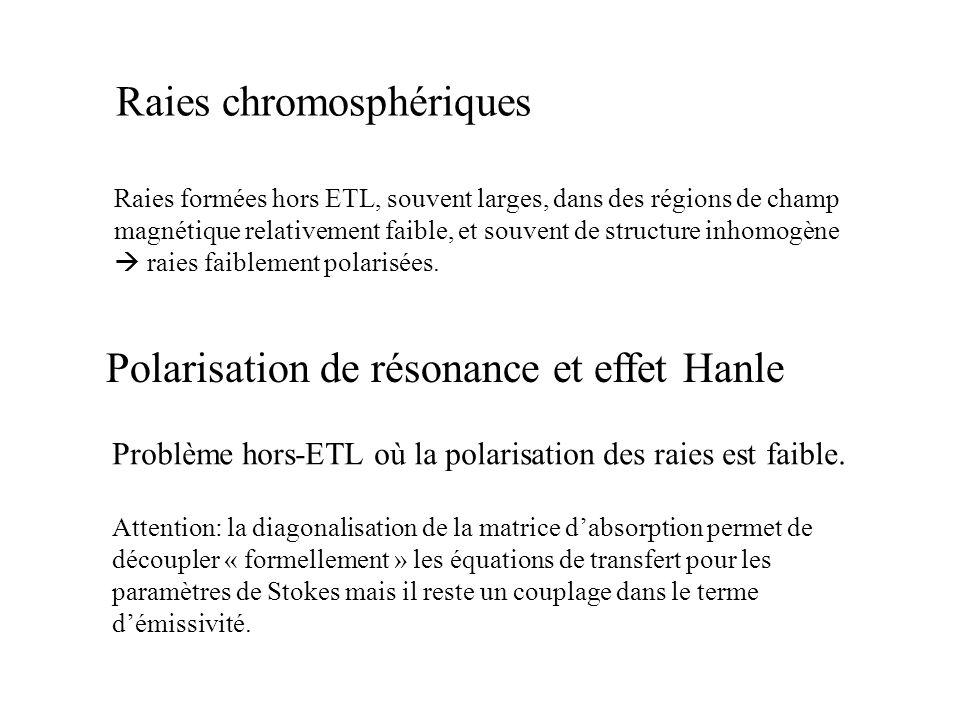 Raies chromosphériques Raies formées hors ETL, souvent larges, dans des régions de champ magnétique relativement faible, et souvent de structure inhom