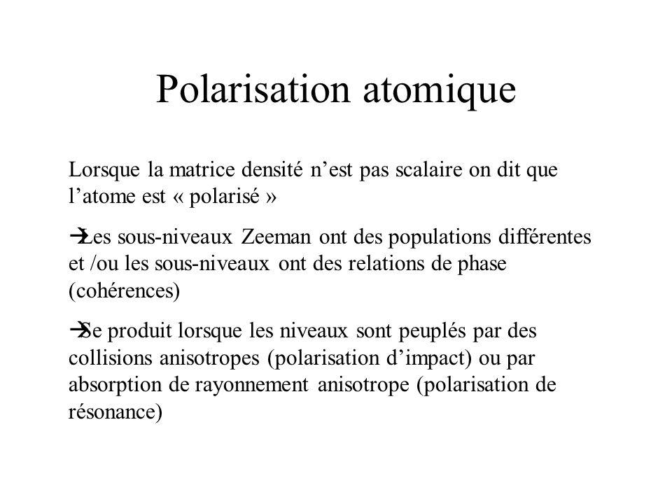 Polarisation atomique Lorsque la matrice densité nest pas scalaire on dit que latome est « polarisé » Les sous-niveaux Zeeman ont des populations diff
