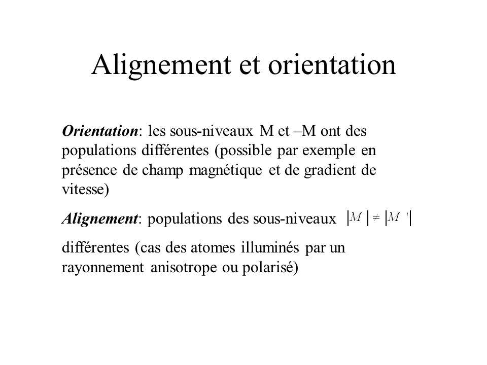 Alignement et orientation Orientation: les sous-niveaux M et –M ont des populations différentes (possible par exemple en présence de champ magnétique