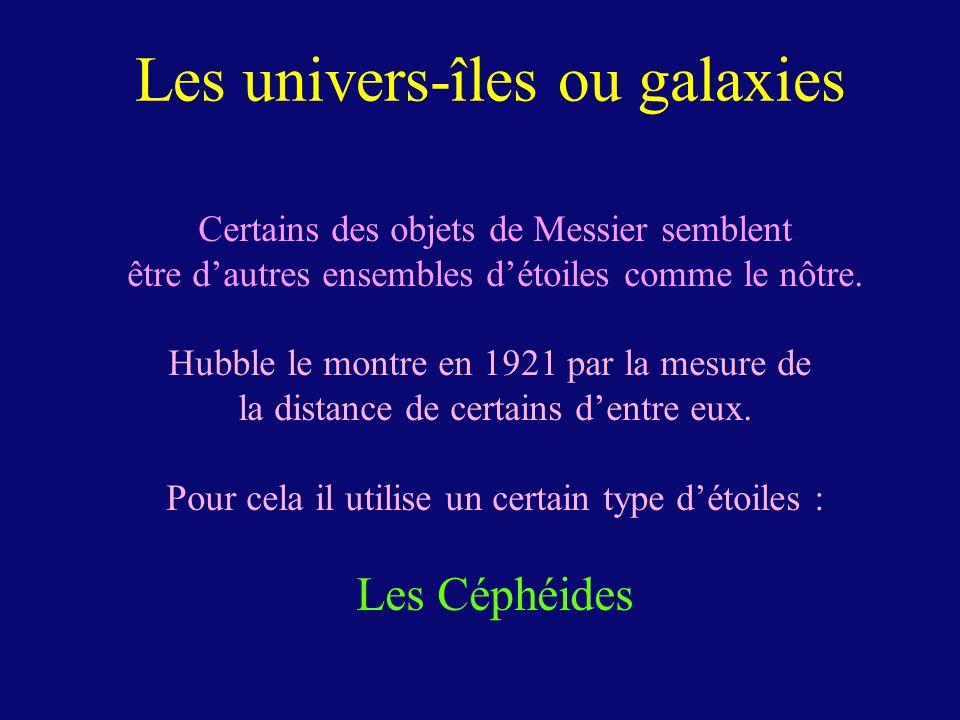 Les univers-îles ou galaxies Certains des objets de Messier semblent être dautres ensembles détoiles comme le nôtre. Hubble le montre en 1921 par la m