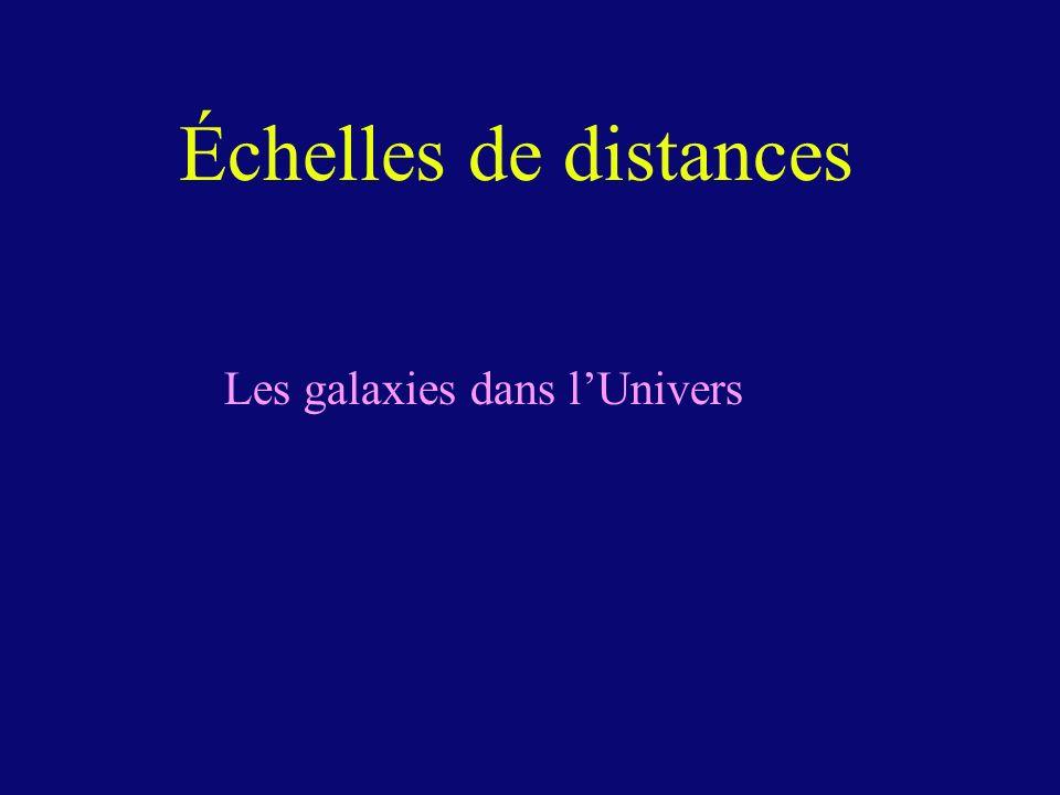 Échelles de distances Les galaxies dans lUnivers