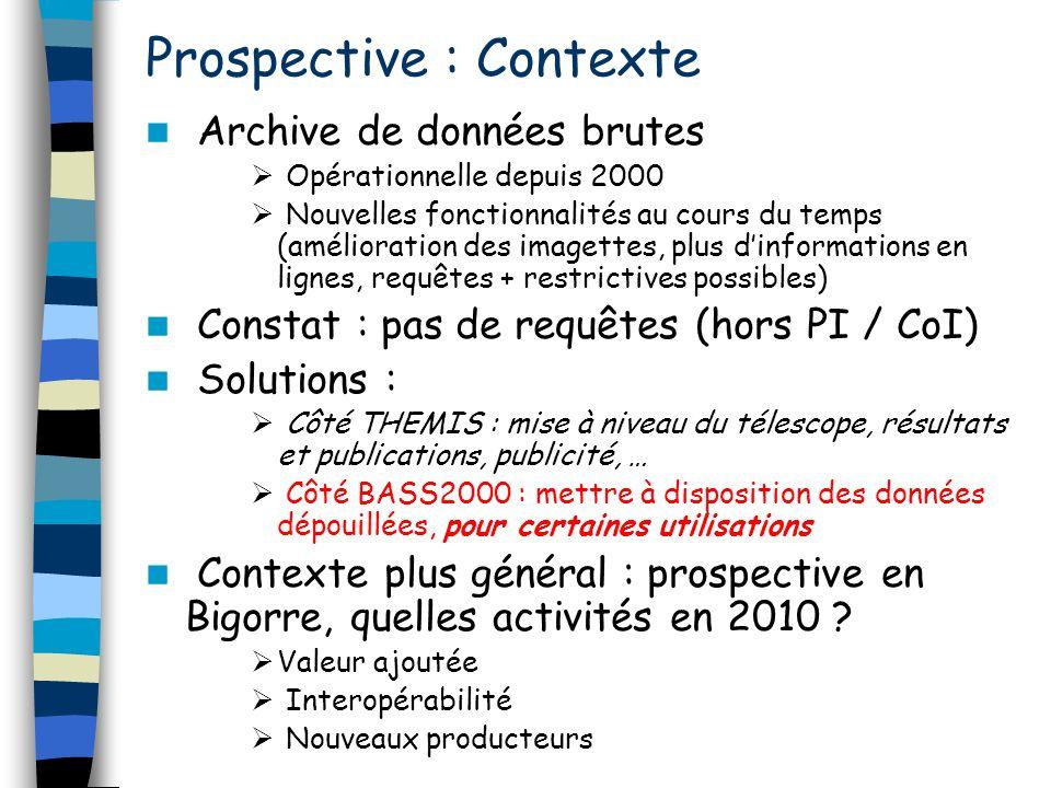 Prospective : Contexte Archive de données brutes Opérationnelle depuis 2000 Nouvelles fonctionnalités au cours du temps (amélioration des imagettes, p