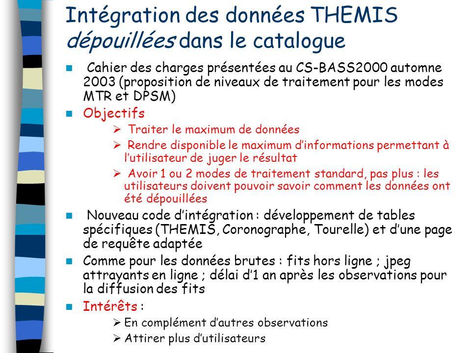 Intégration des données THEMIS dépouillées dans le catalogue Cahier des charges présentées au CS-BASS2000 automne 2003 (proposition de niveaux de trai