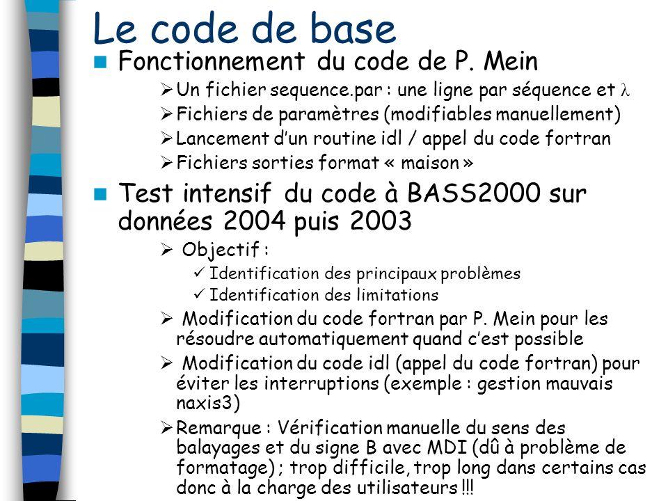 Le code de base Fonctionnement du code de P. Mein Un fichier sequence.par : une ligne par séquence et λ Fichiers de paramètres (modifiables manuelleme