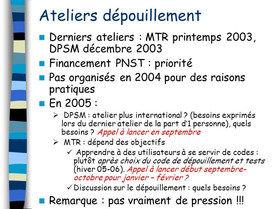 Ateliers dépouillement Derniers ateliers : MTR printemps 2003, DPSM décembre 2003 Financement PNST : priorité Pas organisés en 2004 pour des raisons p