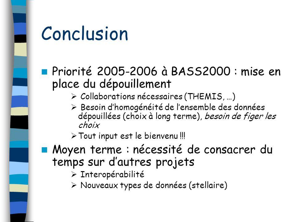 Conclusion Priorité 2005-2006 à BASS2000 : mise en place du dépouillement Collaborations nécessaires (THEMIS, …) Besoin dhomogénéité de lensemble des