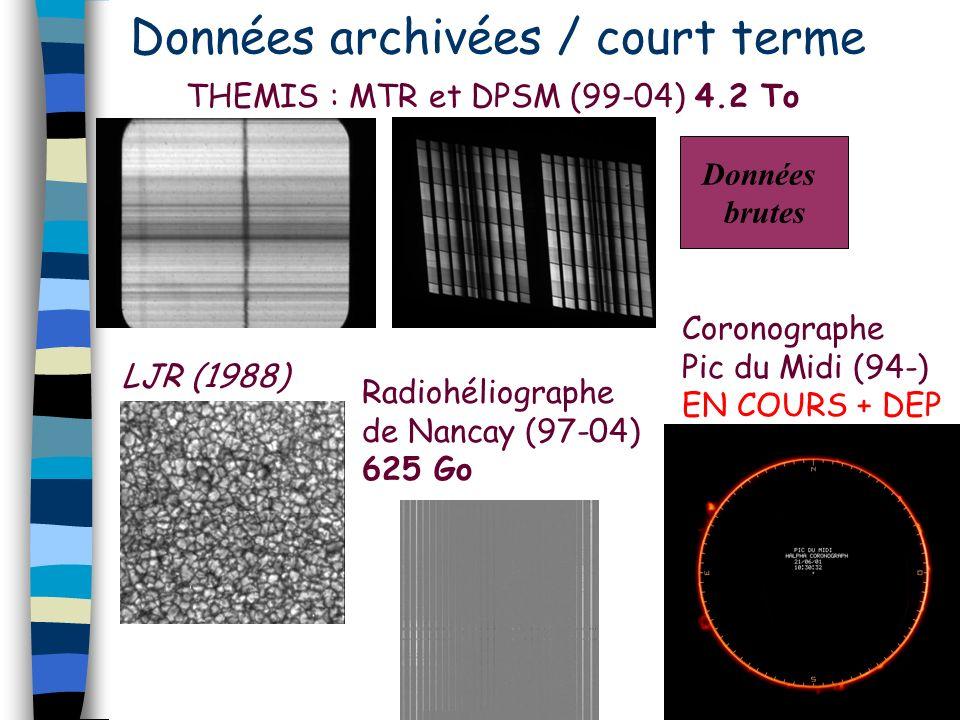 Données archivées / court terme THEMIS : MTR et DPSM (99-04) 4.2 To LJR (1988) Radiohéliographe de Nancay (97-04) 625 Go Coronographe Pic du Midi (94-