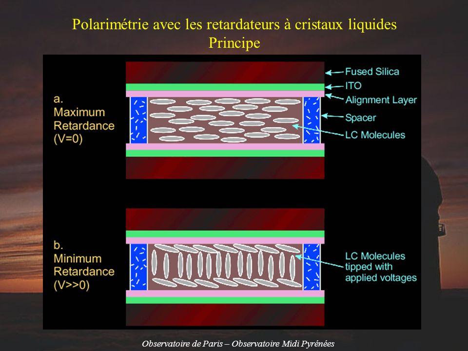 Observatoire de Paris – Observatoire Midi Pyrénées FLC Ferroelectric Liquid Crystal Rotateur de polarisation DISPLAYTECH « achromatique » 2 états correspondant à +5 V et –5 V Vitesse de modulation: plusieurs KHz NLC Nematic Liquid Crystal Lames à retard variable entre 0 et 800 nm (0 à ¾ onde) Vitesse de modulation: quelques dizaines de Hz seulement Tension appliquée aux cristaux FLC: tension continue + transitoire pour accélérer la transition entre les deux états