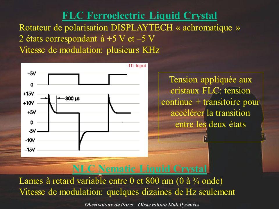 Observatoire de Paris – Observatoire Midi Pyrénées Polarimètre PdM1, technologie FLC Modulateur ½ onde et lame statique ¼ onde Mesure de I+Q et I-Q en séquence ou Mesure de I+V et I-V en séquence