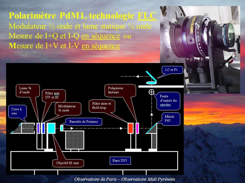 Observatoire de Paris – Observatoire Midi Pyrénées Polarimètre PdM2: 2 modulateurs NLC à retard variable Mesure de I+Q, I-Q, I+U, I-U, I+V et I-V en séquence
