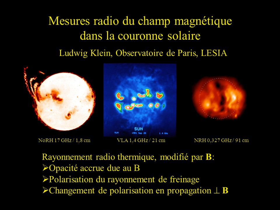 Rayonnement radio (continu) de latmosphère thermique NoRH 17 GHz / 1,8 cmVLA 1,4 GHz / 21 cmNRH 0,327 GHz / 91 cm Ray t des électrons libres dans le champ électrique des ions Température de brillance (=T équivalente corps noir): (T e = température des électrons)