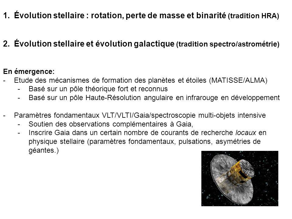 1.Évolution stellaire : rotation, perte de masse et binarité (tradition HRA) 2.Évolution stellaire et évolution galactique (tradition spectro/astrométrie) En émergence: -Etude des mécanismes de formation des planètes et étoiles (MATISSE/ALMA) -Basé sur un pôle théorique fort et reconnus -Basé sur un pôle Haute-Résolution angulaire en infrarouge en développement -Paramètres fondamentaux VLT/VLTI/Gaia/spectroscopie multi-objets intensive -Soutien des observations complémentaires à Gaia, -Inscrire Gaia dans un certain nombre de courants de recherche locaux en physique stellaire (paramètres fondamentaux, pulsations, asymétries de géantes.)