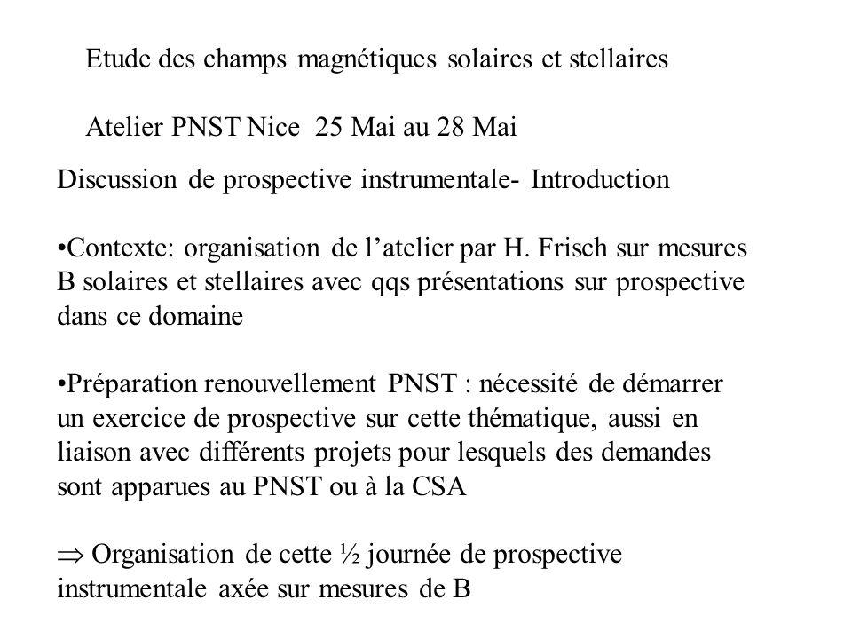 Etude des champs magnétiques solaires et stellaires Atelier PNST Nice 25 Mai au 28 Mai Discussion de prospective instrumentale- Introduction Contexte: organisation de latelier par H.