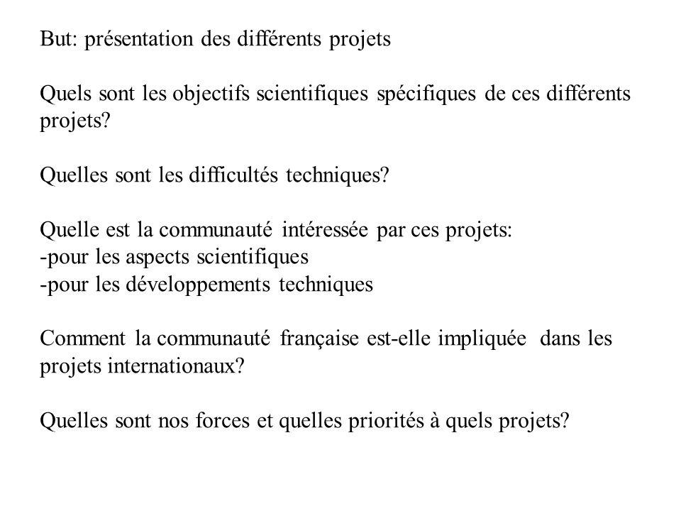 But: présentation des différents projets Quels sont les objectifs scientifiques spécifiques de ces différents projets.