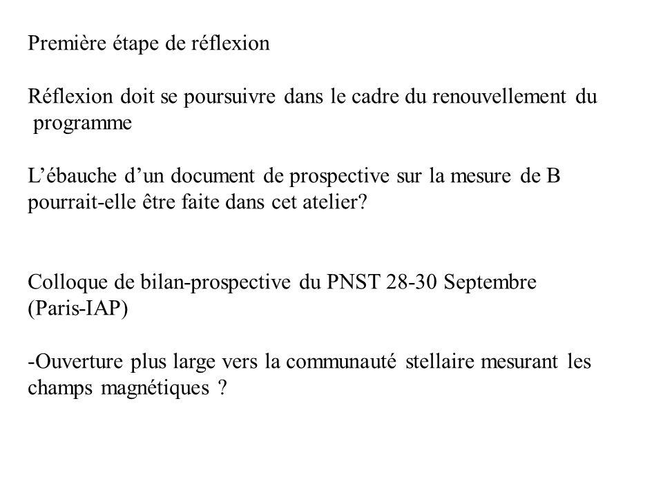Première étape de réflexion Réflexion doit se poursuivre dans le cadre du renouvellement du programme Lébauche dun document de prospective sur la mesure de B pourrait-elle être faite dans cet atelier.