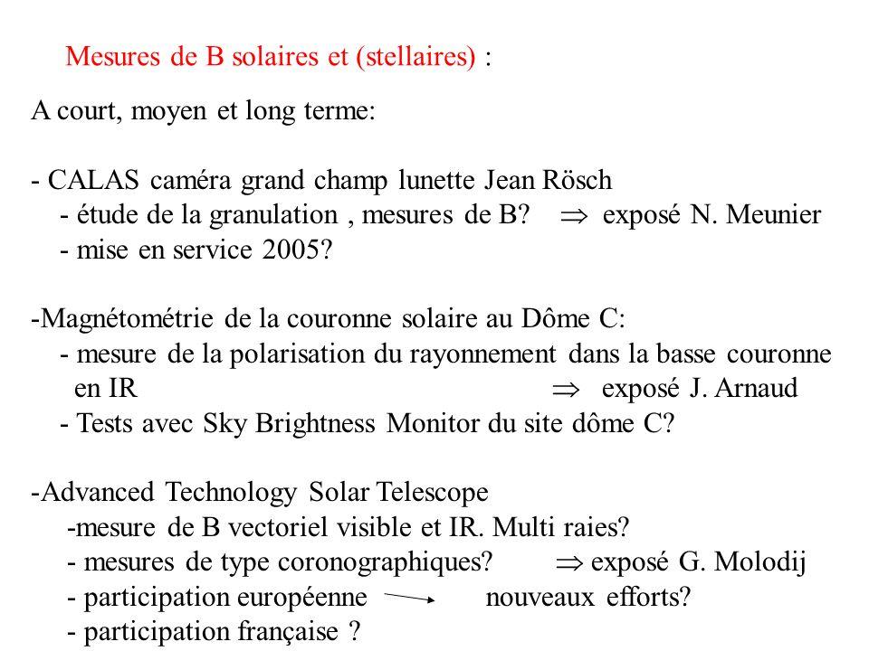 Mesures de B solaires et (stellaires) : A moyen et long terme: -Techniques radio : FASR (Frequency Agile Solar Radio telescope) - mesures de B basse couronne par mesures rayonnement cyclotron -complémentarité avec mesures optiques –IR -techniques dextrapolation de B et raccordements des mesures - exposé K.L.