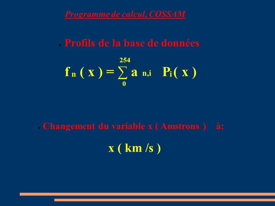 Profils de la base de données Changement du variable x ( Amstrons ) à: x ( km /s ) f ( x ) = a P ( x ) 0 254 n,i in Programme de calcul, COSSAM