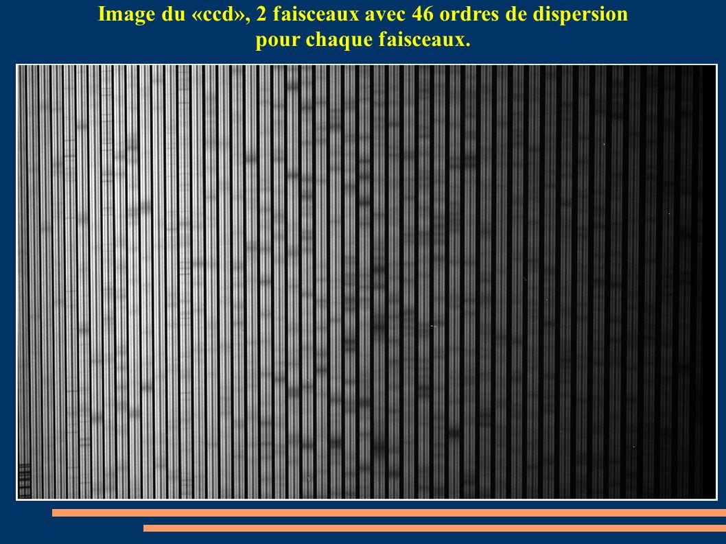 Image du «ccd», 2 faisceaux avec 46 ordres de dispersion pour chaque faisceaux.