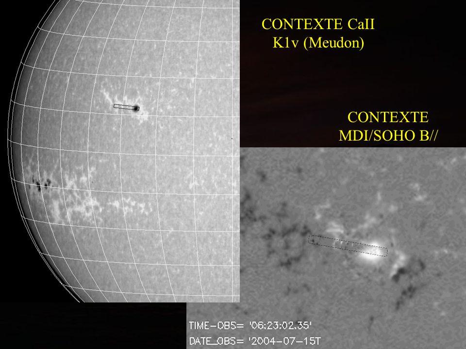 Evolution des champs magnétiques B// de la région vue par MDI/SOHO pendant 6 jours