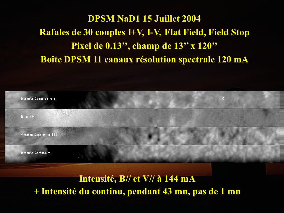 DPSM NaD1 15 Juillet 2004 Rafales de 30 couples I+V, I-V, Flat Field, Field Stop Pixel de 0.13, champ de 13 x 120 Boîte DPSM 11 canaux résolution spec